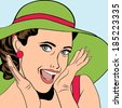 pop art retro woman with sun hat in comics style, vector summer illustration - stock