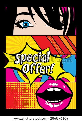 "Pop art ""Special Offer"" Card Vector Illustration - stock vector"