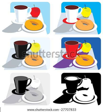 Pop-art still life of a breakfast or coffee break snack (color, gray and black-and-white variants). - stock vector