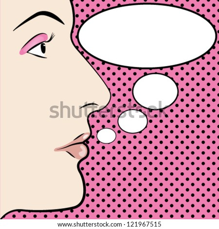 Pop art style womans face with space for text - stock vector