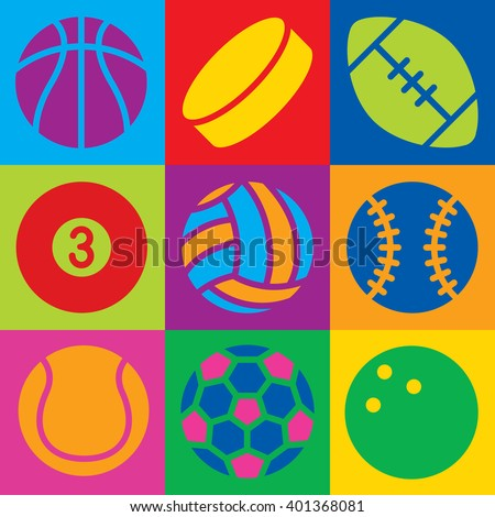 Pop Art-styled generic game ball icons in a colorful checkered design. Can also be used as a seamless pattern. - stock vector