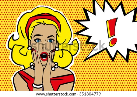 Pop art surprised blond woman face with open mouth. Comic woman with speech bubble. Vector illustration. - stock vector