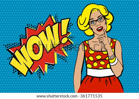 Pop art surprised blond woman in a red dotted dress. Comic woman with speech bubble. Wow! Vector illustration. - stock vector