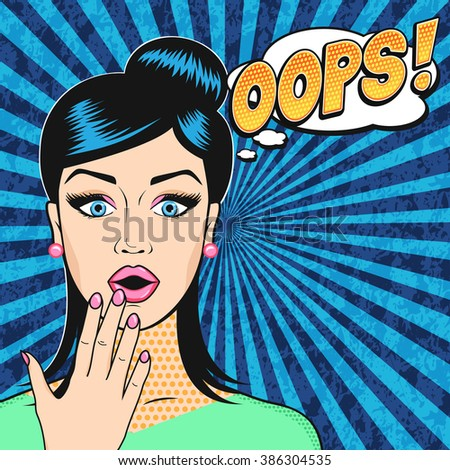 Pop art surprised woman face with open mouth and OOPS bubble in retro comic style - stock vector