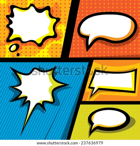 Pop Art, Thought Bubbles, Comic Backgrounds (Vector Art) - stock vector