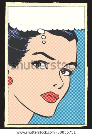 Pop Art Vector Illustration of a Woman - stock vector