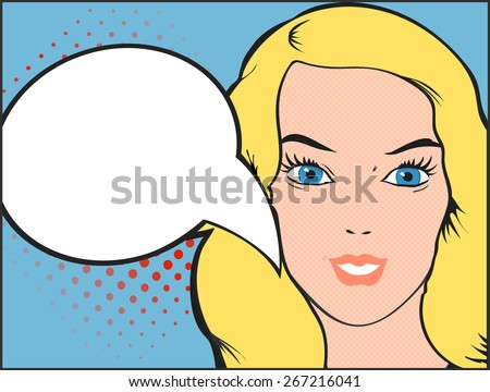 Pop art vector illustration of a woman  face with open mouth and  comic bubble - stock vector