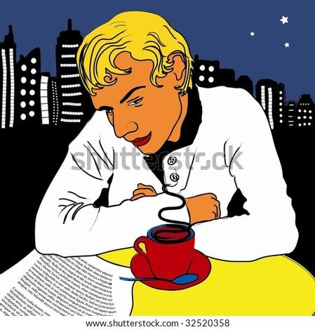 Pop Art Vector Man in Café - stock vector