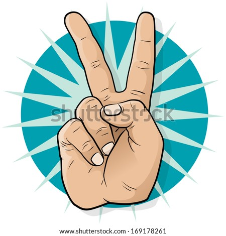 peace hand g...V For Victory Sign