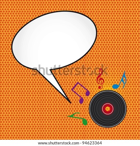 pop art with music notes and disc with thought bubbles. vector - stock vector