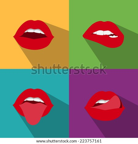 pop art woman lips flat style with shadow - stock vector