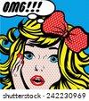 Pop Art Woman OMG! sign. vector illustration. - stock vector
