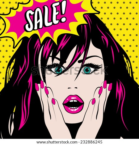 Pop Art Woman SALE sign. vector illustration - stock vector