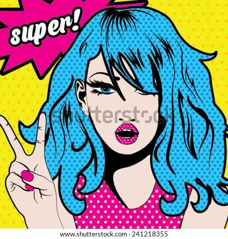 Pop Art Woman SUPER! sign. vector illustration. - stock vector
