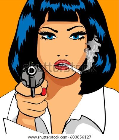 pop art woman pistol cigarette vector stock vector royalty free