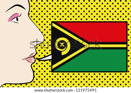 Pop Art Womans Face with the flag of Vanuatu in a speech bubble - stock vector