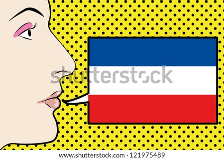 Pop Art Womans Face with the flag of Yugoslavia in a speech bubble - stock vector