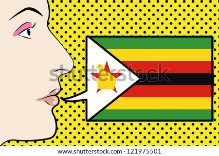 Pop Art Womans Face with the flag of Zimbabwe in a speech bubble - stock vector