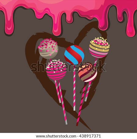 Pop cakes with heart and strawberry cream - stock vector