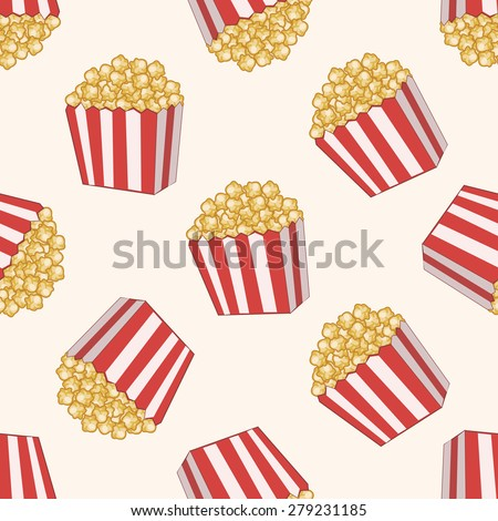 pop corn , cartoon seamless pattern background - stock vector