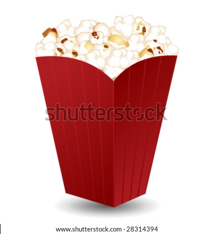 Pop corn in a nice red box vector icon - stock vector
