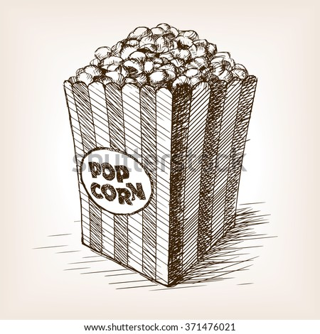 Pop corn sketch style  vector illustration. Old hand drawn engraving imitation. Popcorn illustration - stock vector