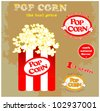 Pop Corn Symbol And Badges - stock vector