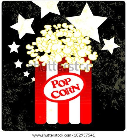Pop Corn With Stars Background - stock vector