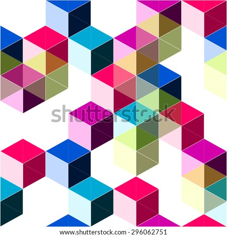 Pop dimensional trendy background with blocks and cubes structure - stock vector