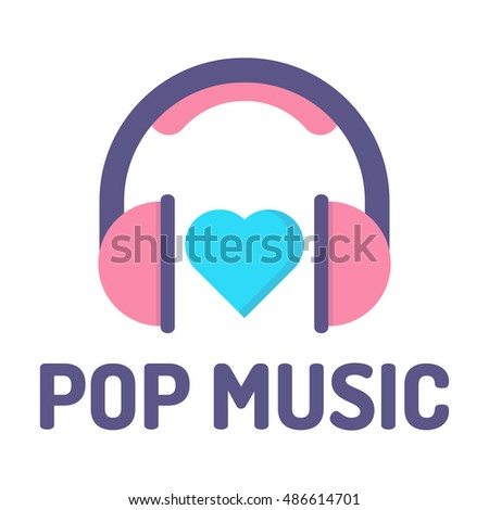 Pop Music Headphones Heart Flat Vector