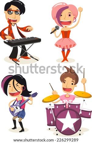 Pop music musicians cartoon characters - stock vector