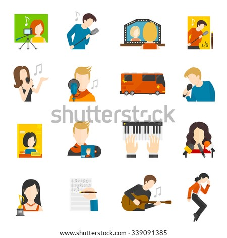 Pop music singer and concert flat icons set isolated vector illustration - stock vector