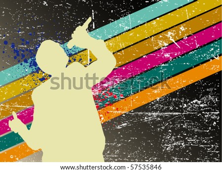 pop singer on the background - stock vector