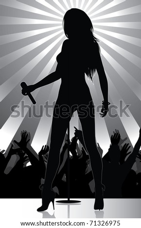 pop singer performing on stage with crowd cheering (available jpg version) - stock vector