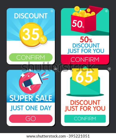 Pop-up window. Push notifications. Web design element. Sale Popup window. Discount Vector frame. Offer window - stock vector