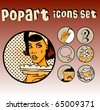 Popart Comic Icons Set Cookery. Vintage Cute emblems. Community tags - stock vector