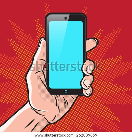 PopArt Style Mokup with Smartphone in Hand - stock vector