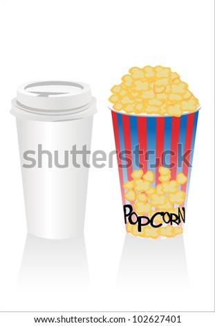 popconr and soda - stock vector