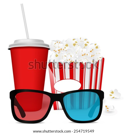 Popcorn, a drink and 3 D glasses for cinema  - vector drawing isolated on white background - stock vector
