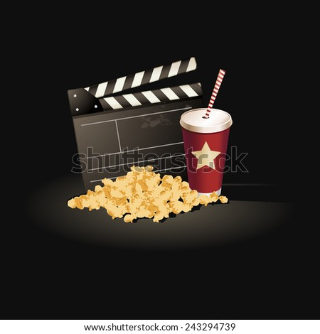 Popcorn and clapper board in black background  - stock vector