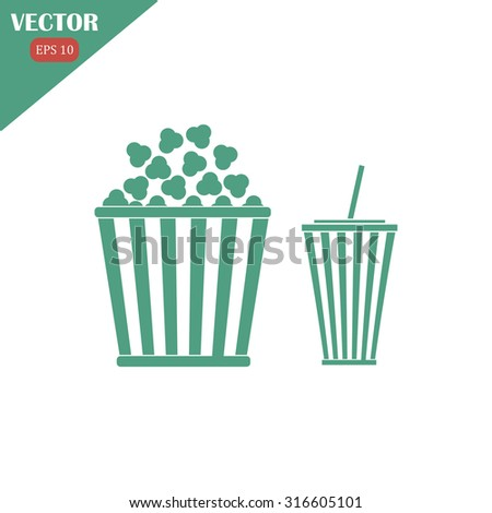 Popcorn and cola . Vector Illustration