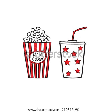 Popcorn and drink isolated on white background, vector illustration. Cinema icons doodle style.
