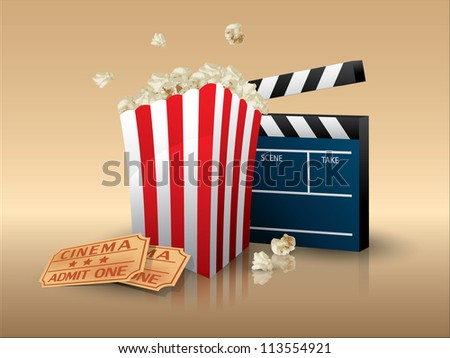 Popcorn and movie tickets with clapper board - stock vector
