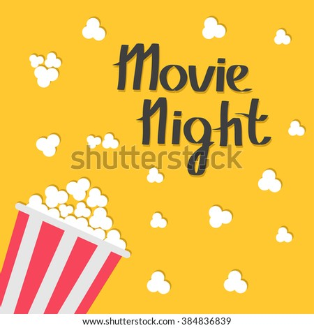 Popcorn bag. Cinema icon in flat design style. Movie night text with shadow. Lettering. Vector illustration - stock vector