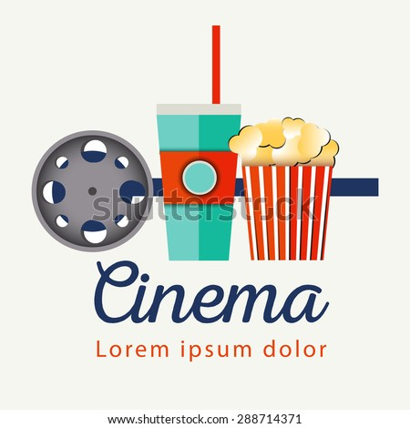 Popcorn bowl, film strip and ticket. Cinema attributes. Detailed vector illustration. Good time - stock vector