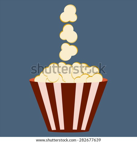 Popcorn  box. Cinema icon in flat design style. - stock vector