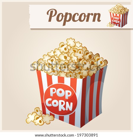 Popcorn box. Detailed Vector Icon. Series of food and drink and ingredients for cooking. - stock vector