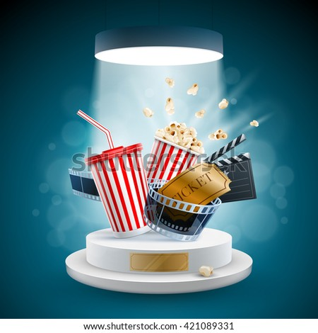 Popcorn box; disposable cup for beverages with straw, film strip, clapper board and ticket on the podium. Cinema Concept Design. Detailed vector illustration.  - stock vector