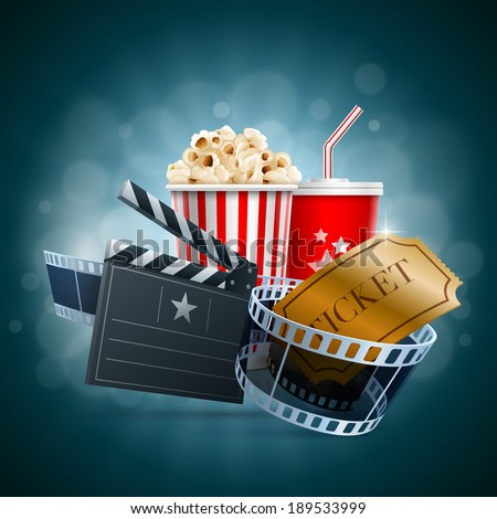 Popcorn box, disposable cup for beverages with straw, film strip, ticket and clapper board. Detailed vector illustration. EPS10 file. - stock vector