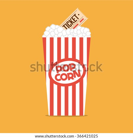 Popcorn box flat illustration. Cinema popcorn flat icon. Popcorn. Vintage red box of popcorn. Cinema tickets. Vector illustration